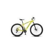 Bicicleta Colli MTB High Performance Amarelo Neon Aro 29 Alum. Kit Shimano 21M Susp. Dianteira Freio