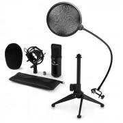 Auna CM001B Juego de micrófono V2 Micrófono de condensador Soporte para micrófono Protector antipop negro (60002004-V2)