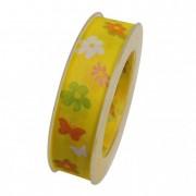Szalag virággal textil 25mmx10m sárga