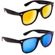 Sunglasses Pack Of 2 Combo UV Protected Mirror Blue And Orange Rectangular Unisex