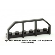 Lego Parts: Modified Plate 1 x 6 with Train Wagon End (Black)