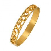 The Jewelbox Italian Round 22K Gold 316L Surgical Stainless Steel Openable Free Size Kada Bracelet Boys Men