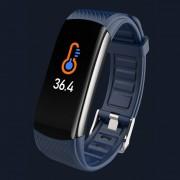 LEMONDA Smart Watch C6T 0.96'' Color Screen Temperature Monitoring HR Bracelet - Blue