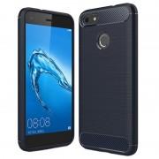 Huawei P9 Lite Mini, Y6 Pro (2017) Brushed TPU Case - Carbon Fiber - Dark Blue