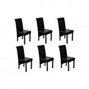 vidaXL 6 x Jedálenská stolička čierne