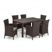 Meliowa 6 fős kerti bútor garnitúra, barna színben, meleg taupe párnával