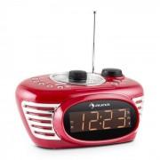 RCR 56 RD Radio Sveglia Retro FM AUX Doppio Allarme Rossa