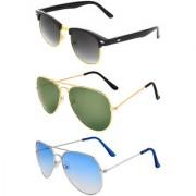 Zyaden Combo of 3 Sunglasses Aviator & Clubmaster Sunglasses
