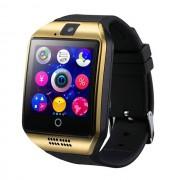"Ceas smartwatch Q18 functie telefon, cu sim, ecran 1.54"", camera foto, ecran curbat, carcasa metalica, BT 3.0, Facebook, SMS, auriu"