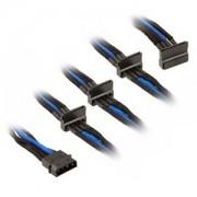 Cablu adaptor Silverstone 4-pini Molex la 4x SATA, 30cm, Black/Blue, PP07-BTSBA