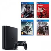 Конзола PlayStation 4 Slim 500GB Black + Игри Destiny 2 + Homefront: The Revolution + Dishonored: Death of the Outsider + Wolfenstein: The Old Blood