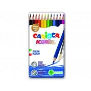 Creioane colorate, hexagonale, 12 culori/cutie metalica, CARIOCA Acquarell