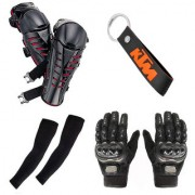 Spidy Moto KTM Black Key Chain 2 Arm Sleeves 1 Pair Pro-Biker Hand Gloves 1 Pair Knee Guard Combo for Biker/Rider