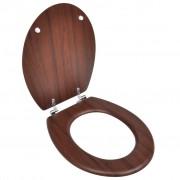 vidaXL Capac WC cu închidere standard maro MDF design simplu