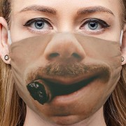 Vtipné rúško na tvár 3D potlač - vzor OLD GENTLEMAN