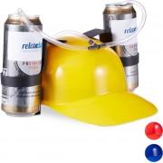 relaxdays drinkhelm voor 2 blikjes - helm - bierhelm - helm met slang - zuiphelm - voetbal geel