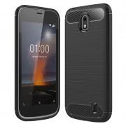 Capa de TPU Escovado para Nokia 1 - Fibra de Carbono - Preto