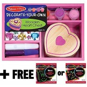 Wooden Heart Chest Decorate-Your-Own Kit + FREE Melissa & Doug Scratch Art Mini-Pad Bundle [30946]