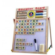 Plutofit™ Educational Learning Multipurpose Double-Sided Magnetic Wooden Writing, Drawing Board with Abacus, Mathematical Calculations & English Alphabets