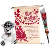 Gifts For Birthday - Scroll Greeting Card, Soft Teddy,Artificial Flower Heart