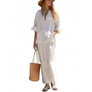 Meco Women Pure Color Long Sleeve Cotton Linen Loose Dress