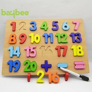 Baybee Premium Wooden 20 Number Peg 1-20 Intelligence Toys Puzzle,Non-toxic Finishes Child-safe Materials Digital Wooden Chunky Raised Fancy Educational Toy Learn colors count add subtract Jigsaw for Children Kids