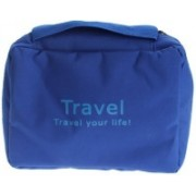 Lemish Portable Travel Toiletry Zipper Cosmetic Makeup Pouch Storage Hanging Bag (Blue)(Blue)