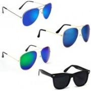 Sulit Aviator, Wayfarer Sunglasses(Green, Blue, Black, Blue)