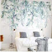 Zjxxm Papel pintado personalizado para pintar en la pared, decorar pintura, hojas frescas, estilo acuarela, nórdico, fondo de TV simple, papel tapiz de fondo-140cmx110cm