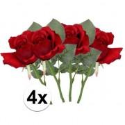 Bellatio flowers & plants 4 x Kunstbloemen steelbloem rode roos 30 cm