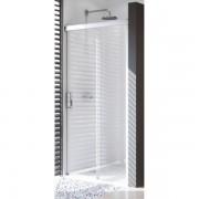 Huppe Design pure schuifdeur rechts 140x200cm met vast paneel matzilver antiplaque glas 8p0216087322