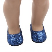 Mingfa.y_Doll Accessories Blue: Mingfa 18 inch Doll Shoes Cute Glitter Casual Dress Shoe Doll Accessories for Our Generation American Girl Doll (Blue)