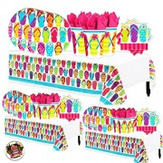 Another Dream Flip Flop Tropical Luau Hawaiian Summer On The Beach Mega Deluxe 238 Piece Party Supply Pack for at Least 50 Includes 60 Plates, 125 Napkins, Cups, and 3 Tablecovers