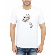 DOUBLE F ROUND NECK HALF SLEEVE WHITE COLOR SMALL AND BIG COW PRINTED T-SHIRTS