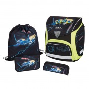 Ghiozdan ergonomic echipat (sac sport, necessaire, penar 17 piese) dimensiune 36x38x22 cm motiv Sporti Plus Spaceshuttle