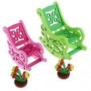 NF&E Colorful 3D Wood Puzzle Rocking Chair Model Assembly Blocks Children Hand Eye Coordination Toy