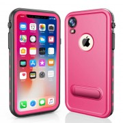 REDPEPPER Dot+ Series Dustproof Snowproof IP68 Waterproof Casing with Kickstand for iPhone XR 6.1 inch - Rose