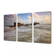 Tablou Canvas Premium Peisaj Multicolor Pe plaja in zori de zi Decoratiuni Moderne pentru Casa 3 x 70 x 100 cm