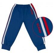 Pantaloni trening cu elastic in talie, albastru inchis cu dungi