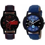 Swadesi Stuff Analog Black Blue Color Luxury watches combo for Men Boys lorem 1 red lorem 2 blue
