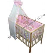 Lenjerie patut bebe cu 6 piese ursuletul somnoros roz