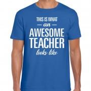 Bellatio Decorations Awesome Teacher cadeau meesterdag t-shirt blauw heren