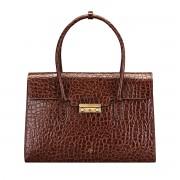 Damen Leder Aktentasche in Kroko Optik in Dunkelbraun - Dokumententasche, Aktenkoffer, Businesstasche, Laptoptasche