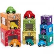 Занимателни дървени кубчета - Кула с цифри и коли - 12435 - Melissa and Doug, 000772124355