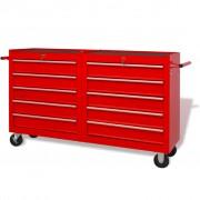 vidaXL Стоманена количка за инструменти с 10 чекмеджета, XXL, червена