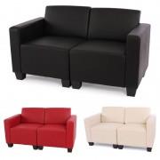 Modular Zweisitzer Sofa Couch Lyon, Kunstleder ~ Variantenangebot
