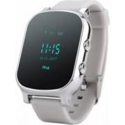 Ceas smartwatch pentru copii si adulti Wonlex GW700/T58 cu functie telefon, buton SOS, WiFi, argintiu