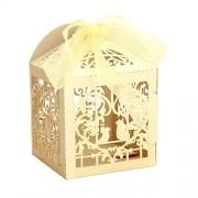 Zeavola 50pcs Paper Party Wedding Favor Ribbon Candy Boxes Gift Box