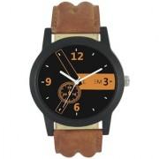 New Original L- EM Round Dial Brown pu Quartz Watch For Men