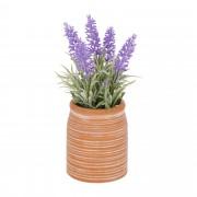 Kave Home Planta artificial Lavanda con maceta de cerámica marrón 22 cm